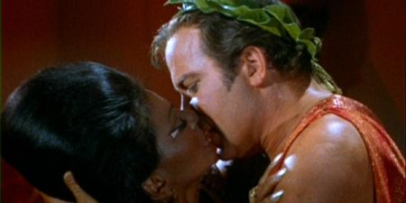 Uhura and Kirk kiss, sending a shock through the sixties